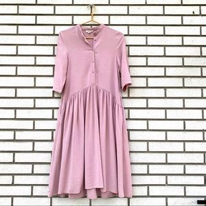 Hidden Alley Mauve Textured Stripe Prairie Dress